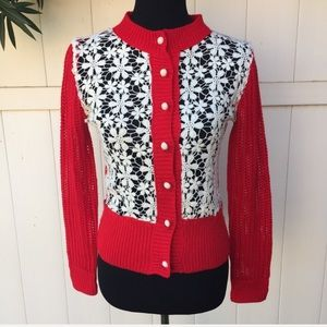 Anthropologie A'Reve Red Floral Cardigan Sweater S